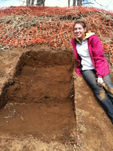 Kate McKinney at Glass Mounds site, 2013.