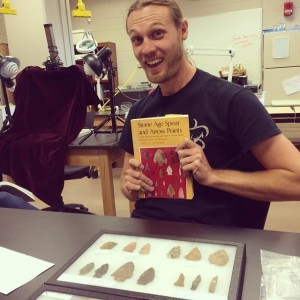 Jesse Tune prepares to talk to the field school students about lithic analysis.