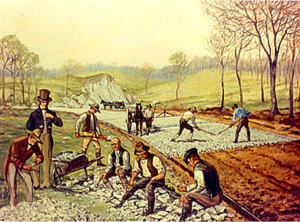 "Workers break up rocks for a McAdam's road.   This is where the term ""macadam"" road surface comes from. Photo courtesy of wikipidia.com"