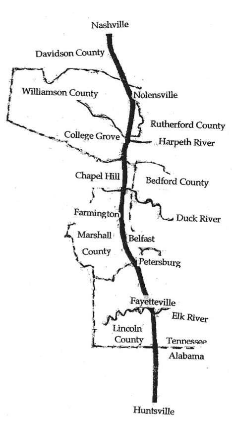 The Fishing Ford trail map courtesy of College Grove History,  TN State Library and Archives
